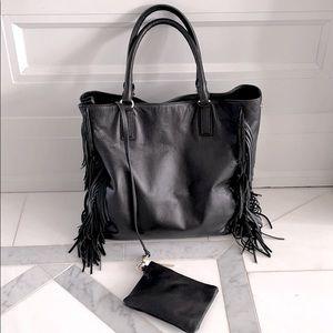 Black Leather Fringe Tote Bag / Purse